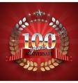 Celebrative Golden Badge for 100th Anniversary vector image