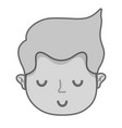 grayscale cute man head with hairstyle design vector image