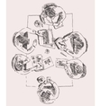 Business Team Meeting Concept Top View Sketch vector image
