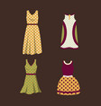 a set of women dresses in polka dots vector image vector image