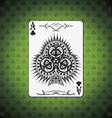Ace of clubs poker card green background vector image vector image
