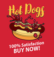 banner with hot dog in retro style vector image