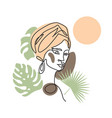 black afro woman in turban face line art vector image