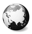 black earth globe focused on asia with thin white vector image vector image