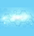 blue abstract hexagons technology digital hi tech vector image vector image