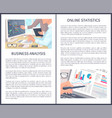 business analysis and online statistics posters vector image vector image