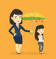 businesswoman holding umbrella over woman vector image vector image