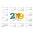 calendar template 2019 vector image