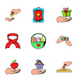 charity icons set cartoon style vector image