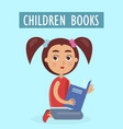 children books advertisement with little girl vector image