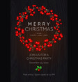 christmas and new year party poster with wreath vector image