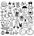 Christmas icon set black and white element vector image