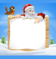 christmas snow scene santa sign vector image vector image