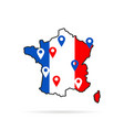colorful france map with geolocation point vector image
