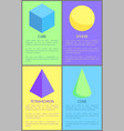 cube cone sphere and tetrahedron prisms collection vector image