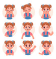 cute child girl avatar facial emotions vector image vector image