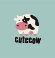 cute cow logo icon vector image