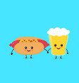 cute funny smiling happy hot dog vector image vector image