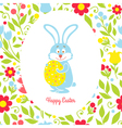 Easter bunny card with eggs and flowers vector image vector image