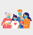 family mother father baand a girl wearing vector image vector image