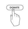 finger pressing button donate - charity vector image vector image