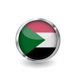 flag of sudan button with metal frame and shadow vector image vector image