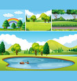 four scenes of park at day time vector image vector image