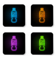 glowing neon bottle water icon isolated on vector image