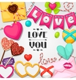 Greeting card with hearts objects decorations vector image vector image