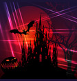 halloween red party scary bats and gothic castle vector image vector image