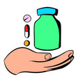 hand with vitamins and medication icon vector image vector image