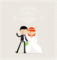 Happy groom and bride waiving vector image