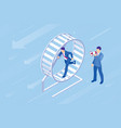 isometric businessman running in a hamster wheel vector image vector image