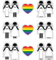 Lesbian brides icon set with rainbow element vector image vector image
