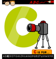 letter c with camera cartoon vector image vector image
