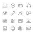 line media entertainment and technology icons vector image vector image