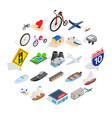 locomotion icons set isometric style vector image vector image