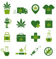 marijuana cannabis icons set of medical vector image vector image