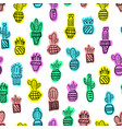 pattern cacti hand-drawn vector image