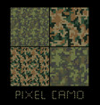 pixel camo seamless pattern big set green forest vector image vector image