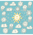Set of cute hand drawn weather icons vector image vector image