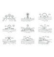 set of different line eco farm landscapes isolated vector image vector image