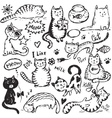 Set of hand draw funny cats in sketch style vector image
