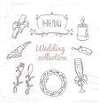 Set of hand drawn wedding table decoration vector image