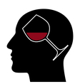 Silhouette of head with red wine glass vector image vector image