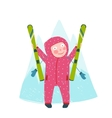 Skiing Sport Child Girl in Winter Clothes with vector image