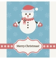 snowman wearing Santa Claus hat and mittens vector image vector image
