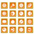 sport balls icons set orange square vector image vector image