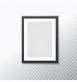 stylish black photoframe with transparent shadow vector image
