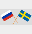 the crossed russia and sweden flags vector image